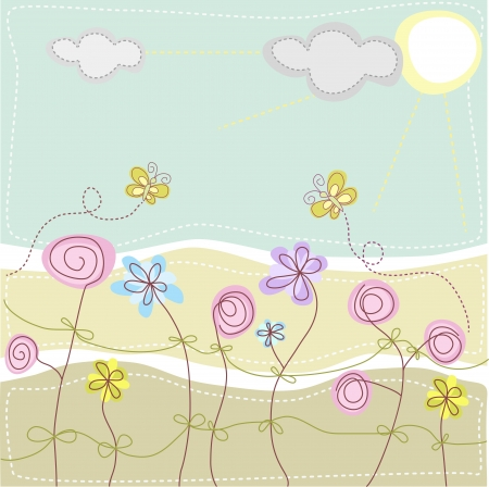 Butterflies are flying in a meadow with flowers Vector