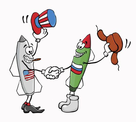 disarmament: Caricature  Russian and American missiles shake hands  Illustration