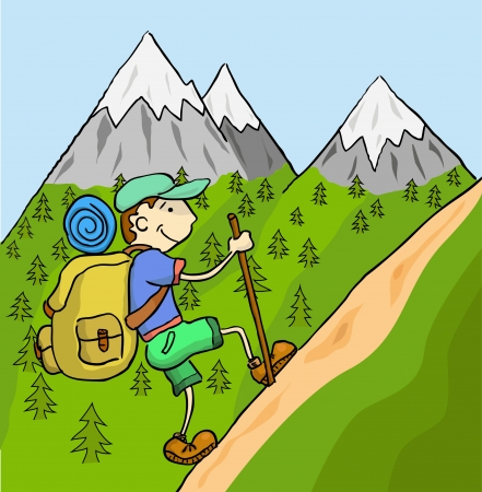 man hiking: Tourist with a large backpack up the mountain   Illustration