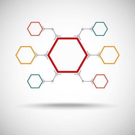 verbunden durch eine farbige Zelle Vektorgrafik