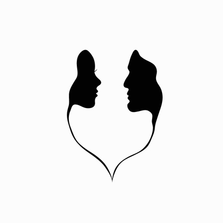 male face profile: A man and a woman  Black and white silhouette of lovers