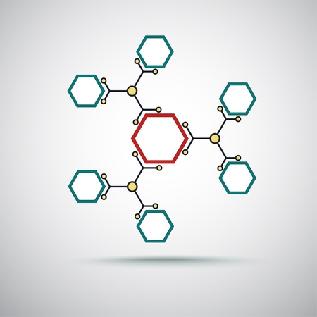 mediateur: reli�s par un graphique vectorielle de couleur cellulaires Illustration