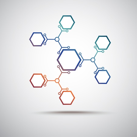 molecular structure: connected by a colored cell  Vector Graphics Illustration