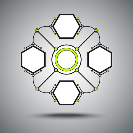 Four connected hexagonal cell  The concept of communication  Vector Graphics Stock Vector - 17117078
