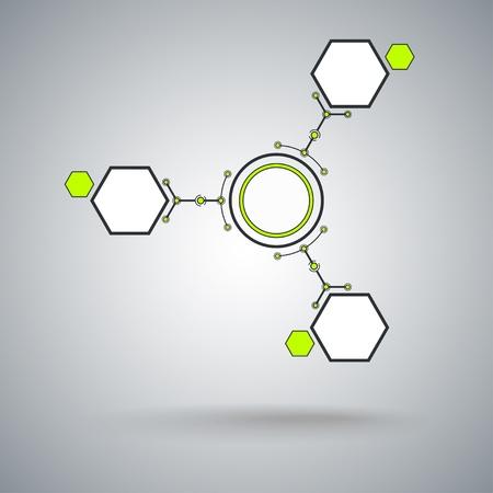 mediateur: Concept de communication, de trois cellules connect�es Graphics