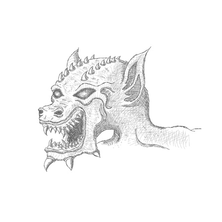 dragon head: portrait dragon monster with fangs and spikes  Vector graphics