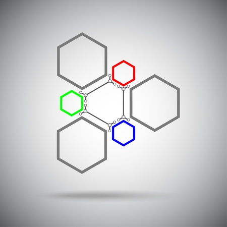mediator: Connected cell red green blue The ternary compound  Vector Graphics   Illustration
