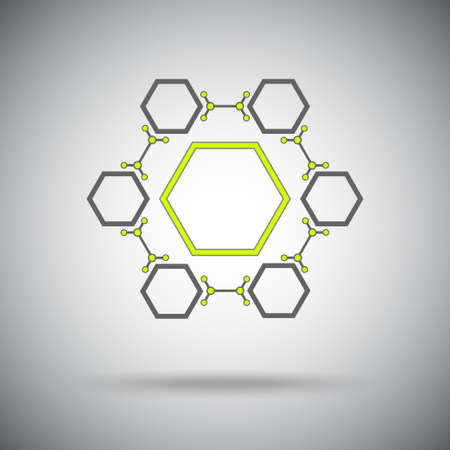 Connected cell The hexagonal connection  Vector Graphics   Stock Photo
