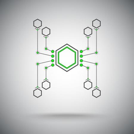 células están conectadas en forma de una araña