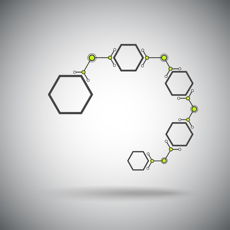 microbiology: chain of connected by hexagonal cells  Vector graphics
