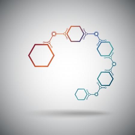 mediateur: cha?ne de connect?s par des cellules hexagonales graphiques vectoriels Illustration