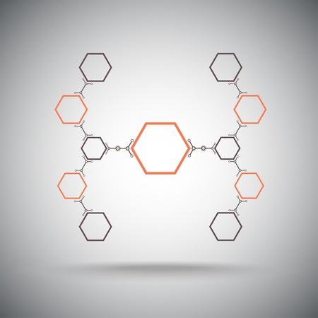 mediateur: Connect� cellules hexagonales Les connexions Vector Graphics