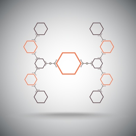 subsidiary: Connected cell The hexagonal connection  Vector Graphics   Illustration