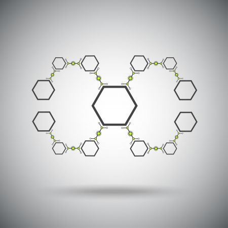 microbiology: The compounds of hexagonal cells  concept Connection