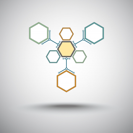 molecular structure: Three hexagonal cells that are attached to the main cell
