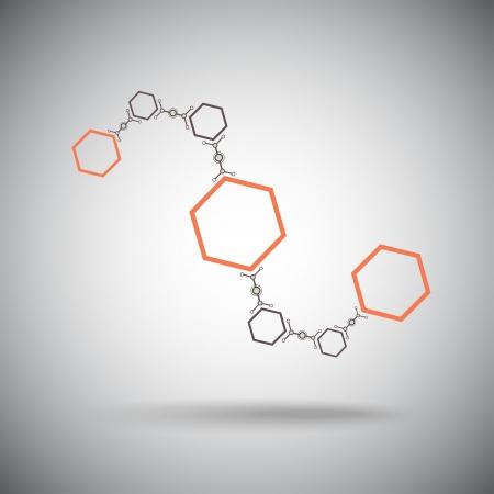 compuesto de células hexagonales de forma de onda, el concepto de conexión de gráficos vectoriales Ilustración de vector