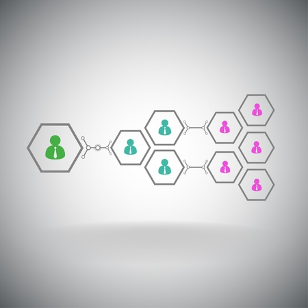 Pyramid of hexagonal cells  Working in a team  Vector graphics  Illustration