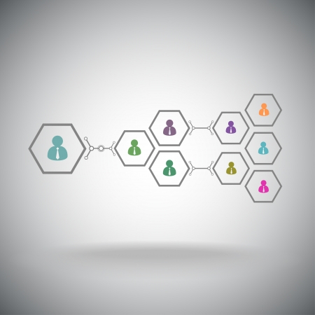 high society: Pyramid of hexagonal cells  Working in a team  Vector graphics  Illustration