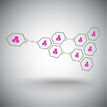 subsidiary: Pyramid of hexagonal cells  Working in a team  Vector graphics  Illustration
