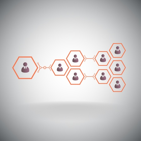 multilevel: Pyramid of hexagonal cells. Working in a team. Vector graphics.