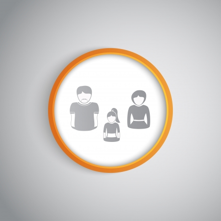 daughter cells: silhouettes of a family in a round cell  Vector Graphics  Illustration