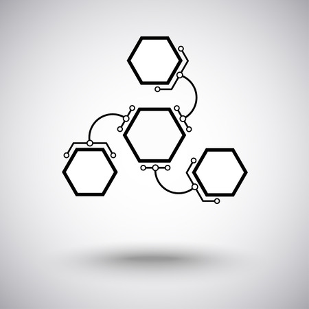 three hexagonal cells are connected to the main unit of the arc-shaped links