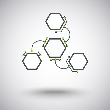 three hexagonal cells are connected to the main unit of the arc-shaped links Vector