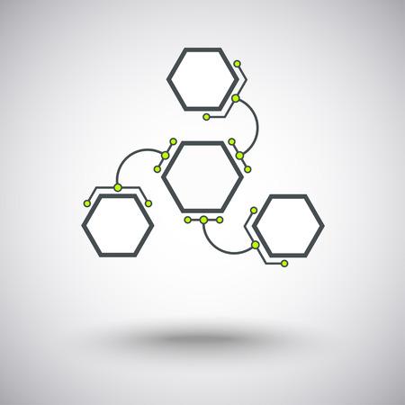 mediateur: trois cellules hexagonales sont connect�s � l'unit� principale des maillons en forme d'arc