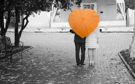 Lovers couple on a black and white photo of an orange umbrella  Rear view