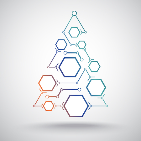 interconnected: Christmas tree in the form of interconnected hexagonal cells