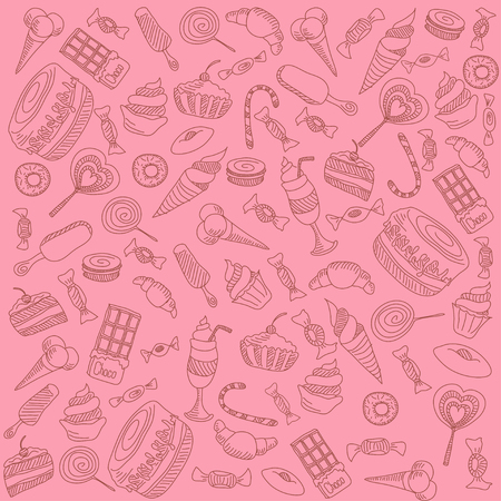 fruitcakes: a lot of different sweets on a pink background