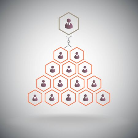 multilevel: Units and levels of management, top-management  Vector graphics