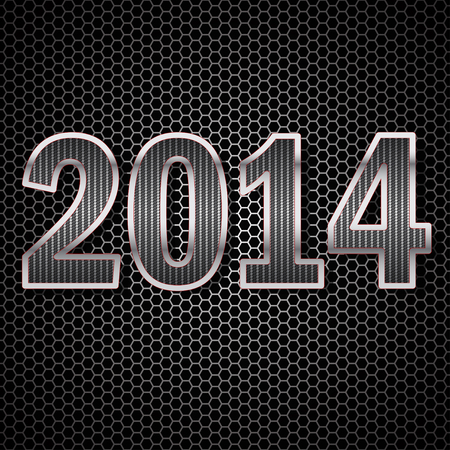 2014 made of carbon fiber on the background of metallic honeycomb
