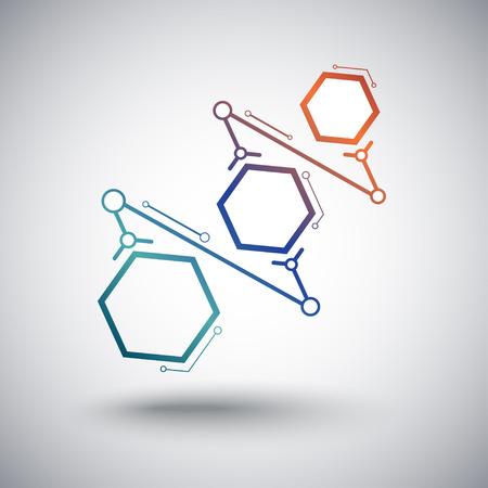 mediateur: Concept de la communication, trois cellules connect�es d�grad�. Vector Graphics Illustration