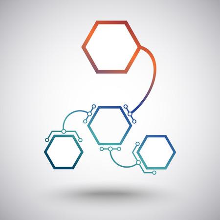 mediateur: Des cellules hexagonales de taille diff�rente connect�s � l'unit� principale des maillons en forme d'arc. Les graphiques vectoriels Illustration