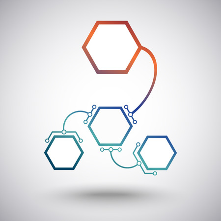 subsidiary: Hexagonal cells different size connected to the main unit of the arc-shaped links. Vector graphics Illustration