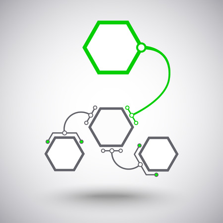 mediator: Hexagonal cells different size connected to the main unit of the arc-shaped links. Vector graphics Illustration