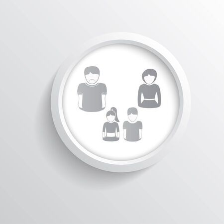 daughter cells: silhouettes of a family in a round white cell. Vector Graphics.
