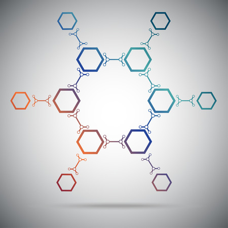 subsidiary company: Twelve hexagonal cells connected by a links  Gradient  Vector Graphics