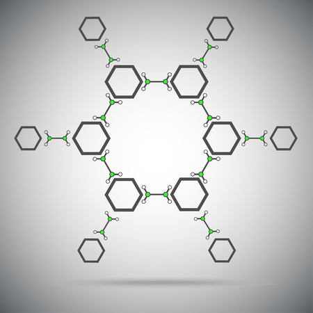 subsidiary: Twelve hexagonal cells connected by a links. Vector Graphics.