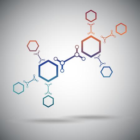huit cellules hexagonales reliées par un lien. Gradient. Vector Graphics.