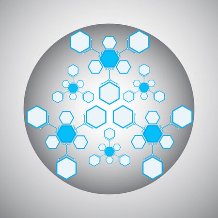 compounds: Kaleidoscope of hexagonal compounds. gray-blue. vector graphics Illustration