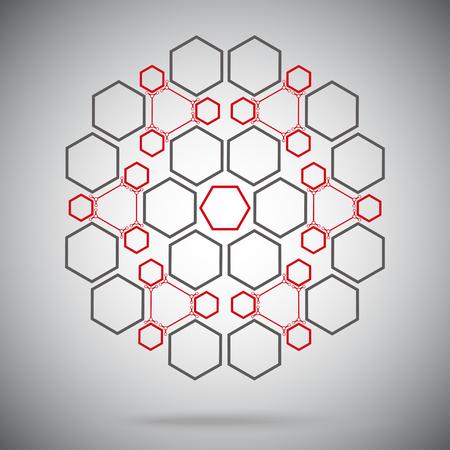 mediateur: six compos�s ternaires sous la forme d'une sph�re. graphiques vectoriels. rouge-gris