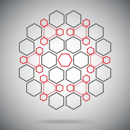 compounds: six ternary compounds in the form of a sphere. vector graphics. red-gray Illustration