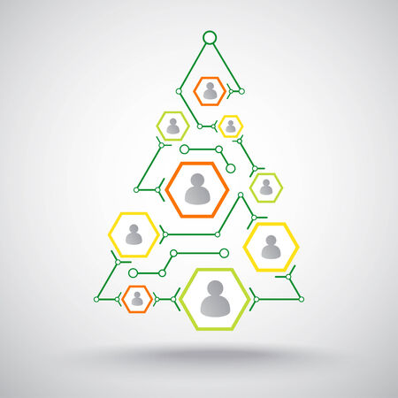 Christmas connecting people via the Internet in the form of a Christmas tree Illustration