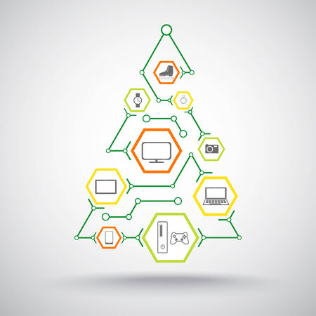 mediator: Christmas tree with gifts of appliances, phones and jewelry