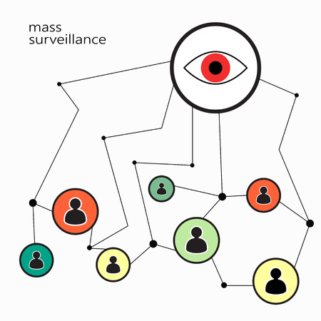 illustration symbolizing total surveillance security services for users of computers and mobile phones