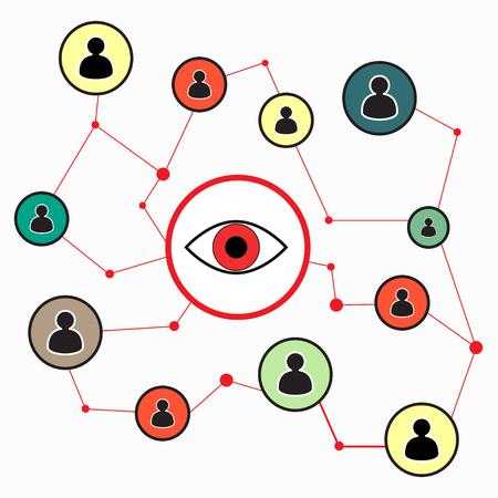 totales: ilustraci�n que simboliza el total de servicios de seguridad de vigilancia para los usuarios de ordenadores y tel�fonos m�viles. Los gr�ficos vectoriales Vectores