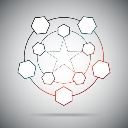 Ten cells connected in a pentagram. Gradient. Vector Graphics.