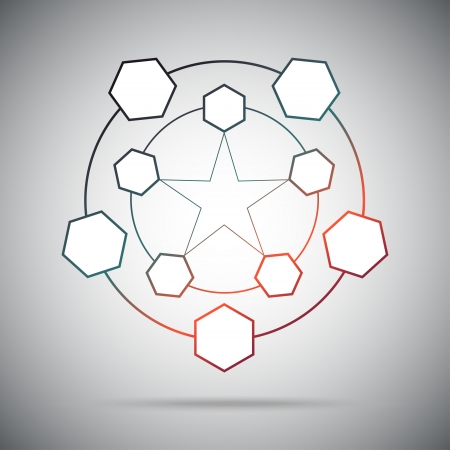 subsidiary: Ten cells connected in a pentagram. Gradient. Vector Graphics.